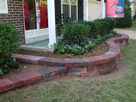 Red Brick On Front Garden Landscape Pavers Landscaping Garden Brick Wall Ideas