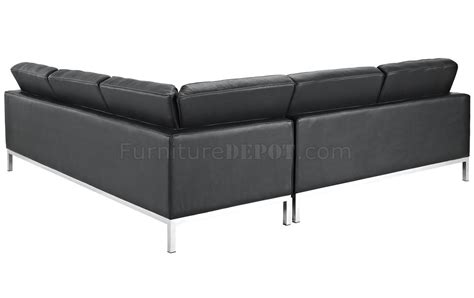 l shaped black leather couch loft l shaped sectional sofa in black leather by modway