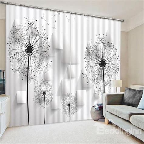 dandelion print curtains chic black and white dandelions print 3d blackout curtain