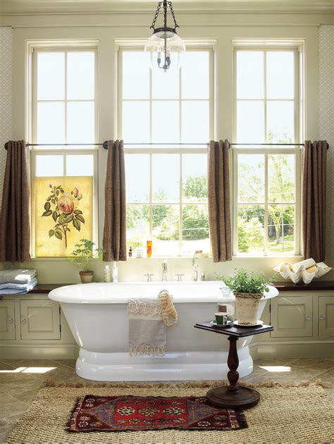 Curtains For Big Kitchen Windows Inspired Soaker Tub In Bathroom Farmhouse With Arched Windows Curtains Next To Large Windows
