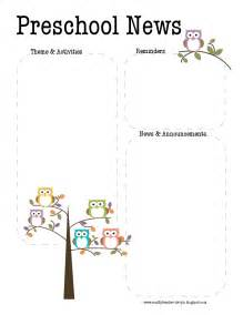 preschool newsletter templates the crafty preschool owl newsletter template