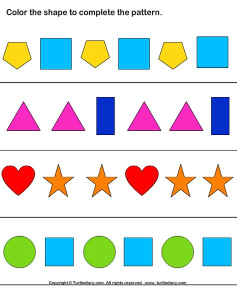 maths shape pattern games shape pattern worksheets for kindergarten