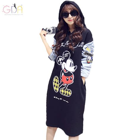 Casual Mickey Dress Bt30 gda plus size mini dress fashion mickey mouse print dress sleeve casual autumn