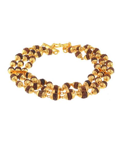 The Jewelbox Triple Line Rudraksh Gold Plated Bracelet: Buy Online at Low Price in India   Snapdeal