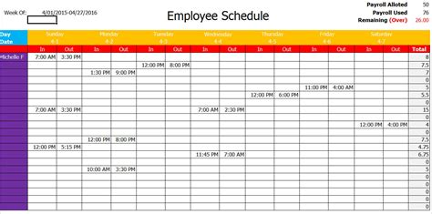 sle of work schedule template schedule template