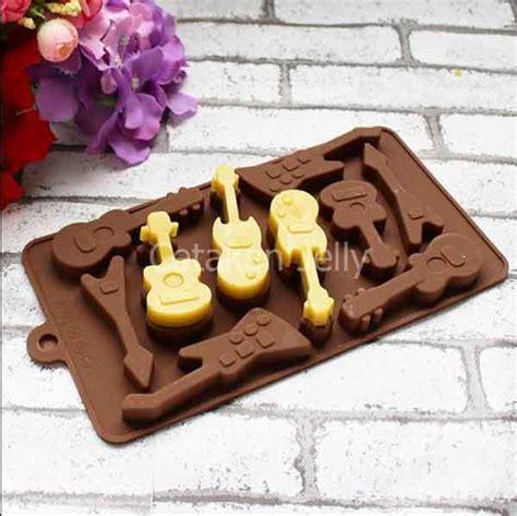 Cetakan Coklat Puding Stuff cetakan silikon coklat puding mini guitar 10 cav cetakan jelly cetakan jelly