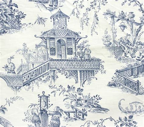 Willow Pattern Wallpaper | toile fabric in cream blue willow pattern chinese