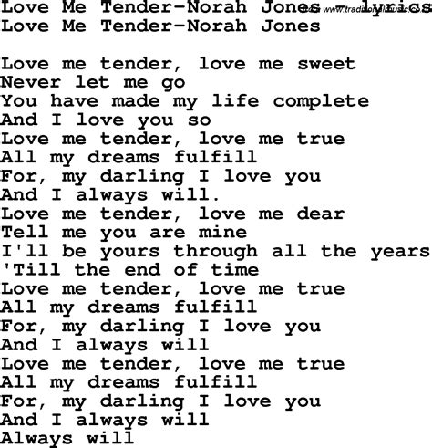 me tender testo song lyrics for me tender norah jones