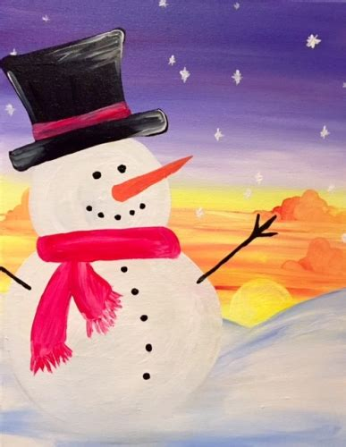 paint nite for families family paint nite sunset snowman
