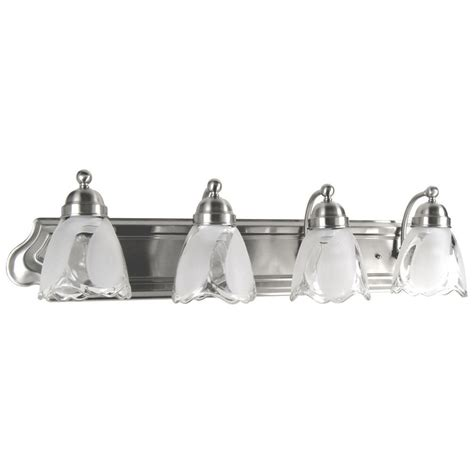 portfolio bathroom light fixtures shop portfolio 4 light 7 25 in satin nickel bell vanity