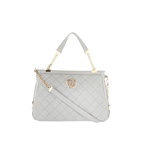 Quilted Bag With Chain by River Island Pale Blue Quilted Chain Handle Tote Bag In