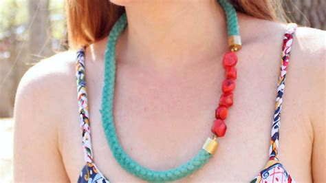 how to make beaded rope necklace make a pretty beaded rope necklace diy style