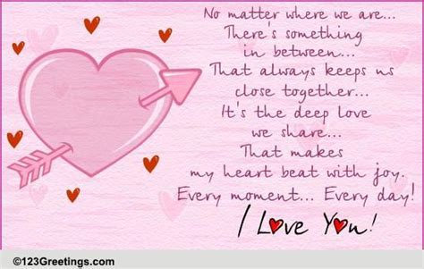 For Your Long Distance Love  Free Poems eCards, Greeting