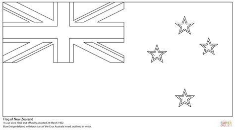new zealand flag free coloring pages
