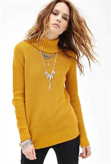 Striped Ribbed 1 2 Sleeved forever 21 ribbed turtleneck sweater in yellow lyst