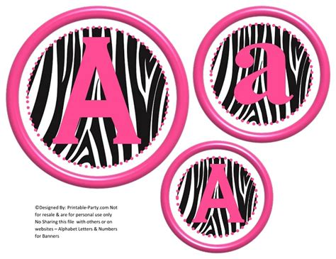 free printable zebra alphabet letters 3d circle printable banner letters a z 0 9 create a