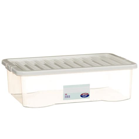 Underbed Box Storage 1 underbed clear storage box with lid 32l home storage b m