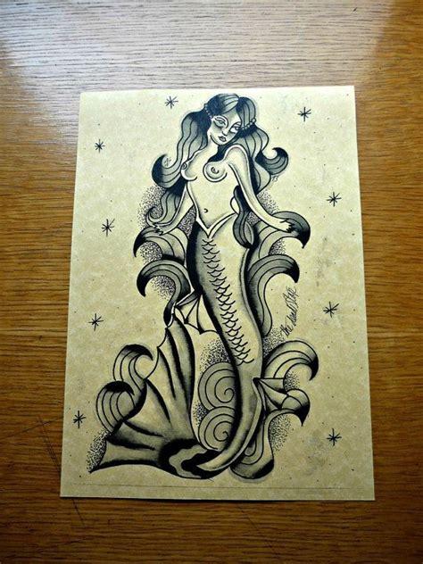 old school mermaid tattoo designs black ink school style mermaid design