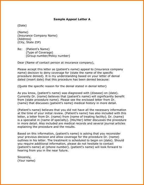Health Insurance Appeal Letter Template 12 Sample Appeal Letter For College Appeal Letters Sample
