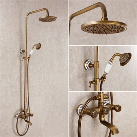Vintage Style Antique Shower Bathroom Shower Set Bronze Shower Mixer Blue And White Porcelain Vintage Style Antique Shower Bathroom Shower Set Bronze Shower Mixer Blue And White Porcelain