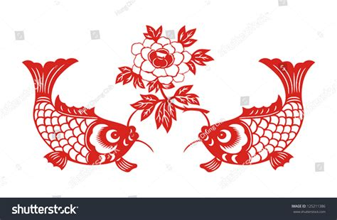 new year luck fish auspicious fish symbol new stock vector