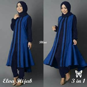 Deltarn Set Kulot Biru Baju Setelan Wanita Muslim Setelan Ku baju muslim wanita setelan tunik celana modis model terbaru