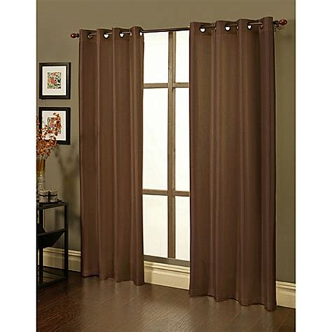 Blackout Window Curtains Buy Sherry 84 Inch Faux Silk Grommet Blackout Window Curtain Panels In Brown Set Of 2