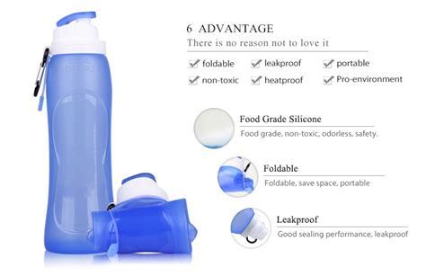 Eco Squeeze Bottle Bpa Free Foldable Bottle Hhd 30 eco squeeze silicone water bottle collapsible with straw bpa free water bottle blue for sports