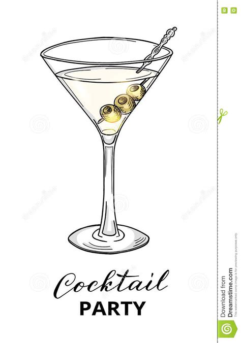 martini illustration cocktail in martini glass with olives stock