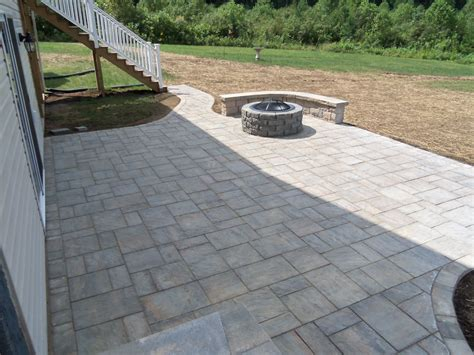 Landscaping Virginia Brick Paver Patio Backyard Paver Patio With Pit
