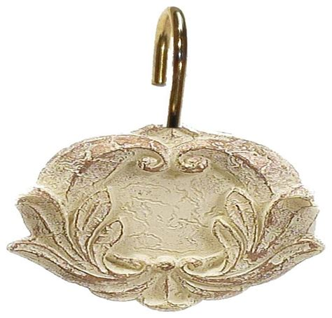 gold shower curtain rings carnation home quot victorian quot resin shower curtain hooks