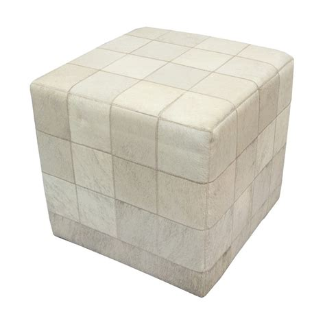 Cowhide Cube Pouf Patchwork Light Grey Ivory Fur Home Cowhide Cube Ottoman
