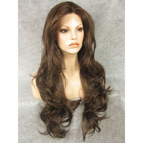 Medium Wig Synthetic Wavy Black Fark Brown brown synthetic lace front wig with wavy