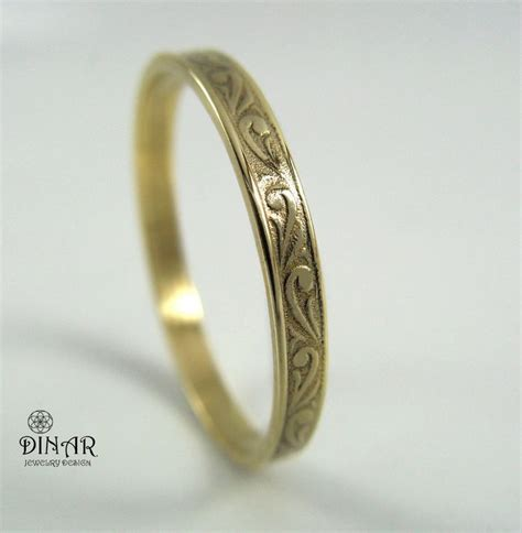 14k gold stacking ring 2 5mm vintage thin wedding