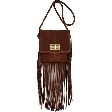 leather fringe bags river island brown leather fringed cross bag in brown lyst
