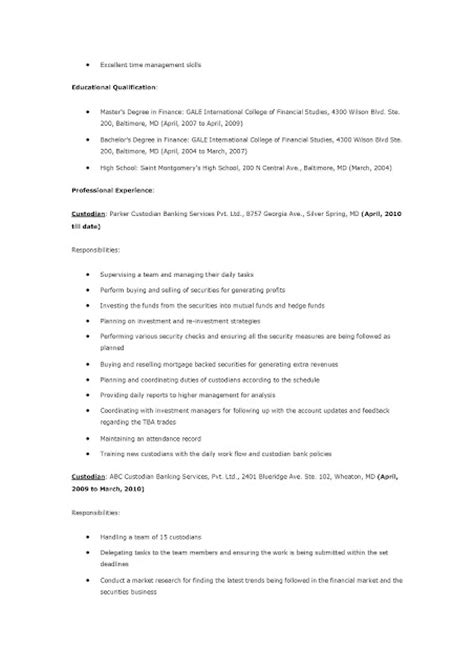 Free Resume Sles For Custodian Resume Sles Custodian Resume