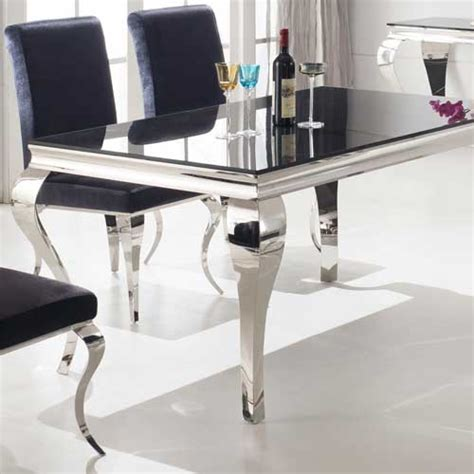 Next Dining Tables And Chairs Louis 160cm Mirrored Dining Table With Black Glass Seats 4 6 Furniture123