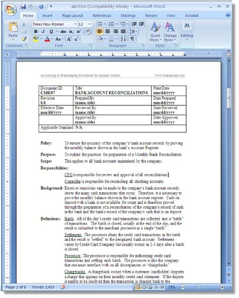 accounting sop template policies and procedures template best business template