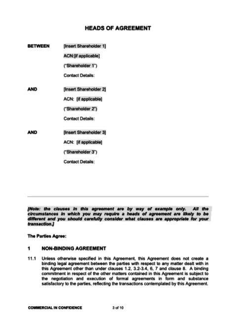 heads of agreement template heads of agreement template bayard lawyers