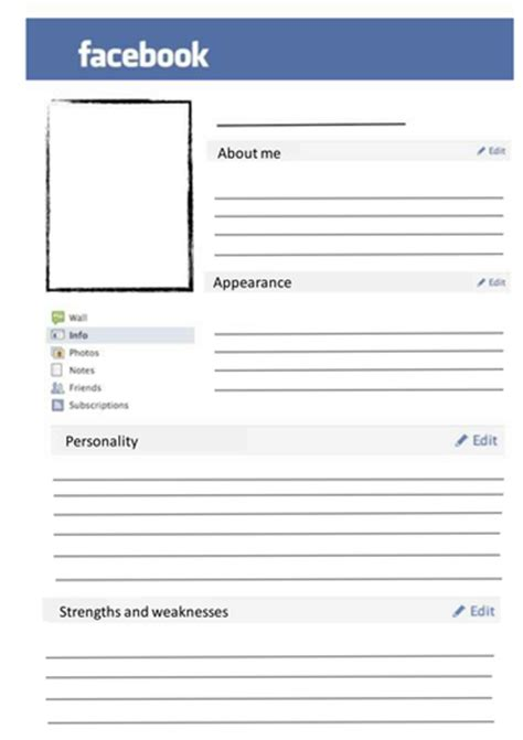 Blank Facebook Page By Svwestray Teaching Resources Tes Dating Profile Template Pdf
