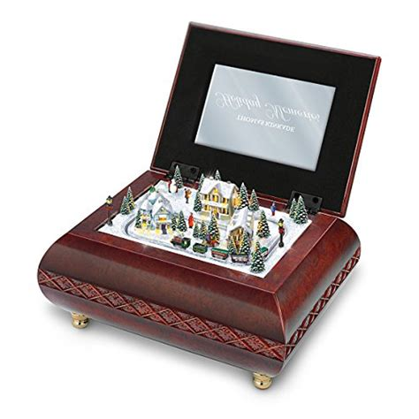 holiday memories lighted village and train music box kinkade illuminated animated box memories by the bradford