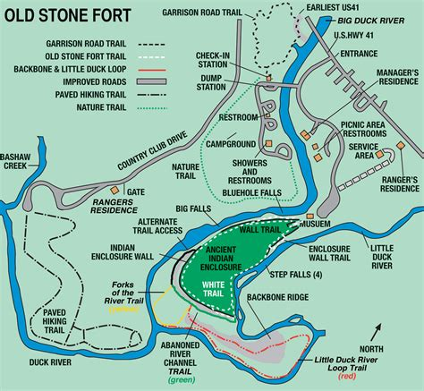 Tn State Parks Map by Old Stone Fort State Archaeological Park Tennessee