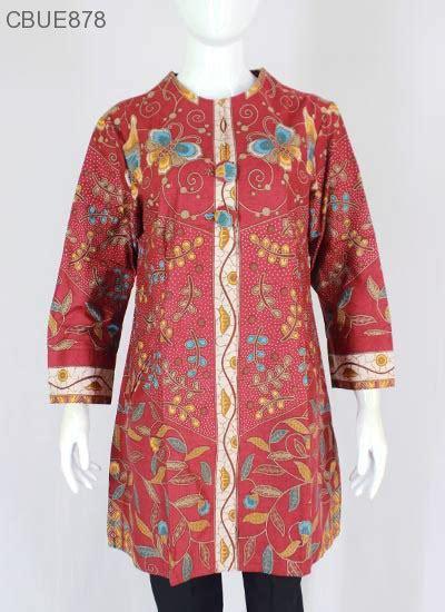 Kemeja Tunik Batik Murah Wanita Tunik Batik Midel Navy atasan wanita tunik batik blarak 9016 blus lengan