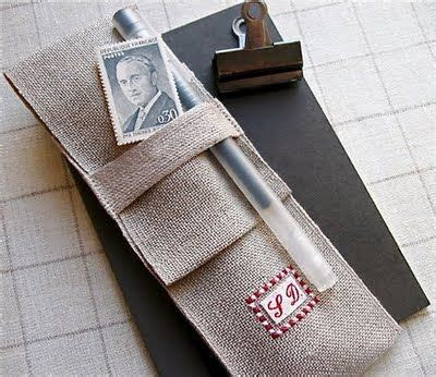 Linen Notebook With Pen 21 best images about cross stitch on in the