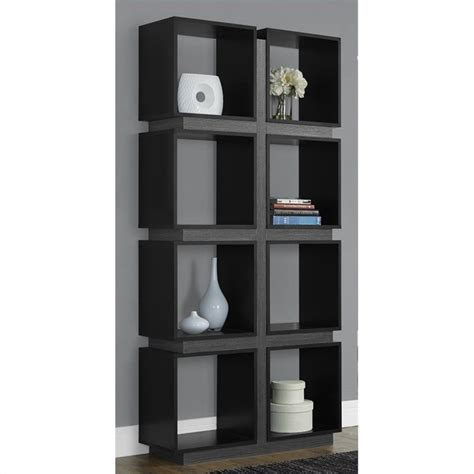 monarch 71 quot hollow bookcase in black and gray 499484
