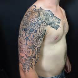 nordic viking tattoo on left half sleeve