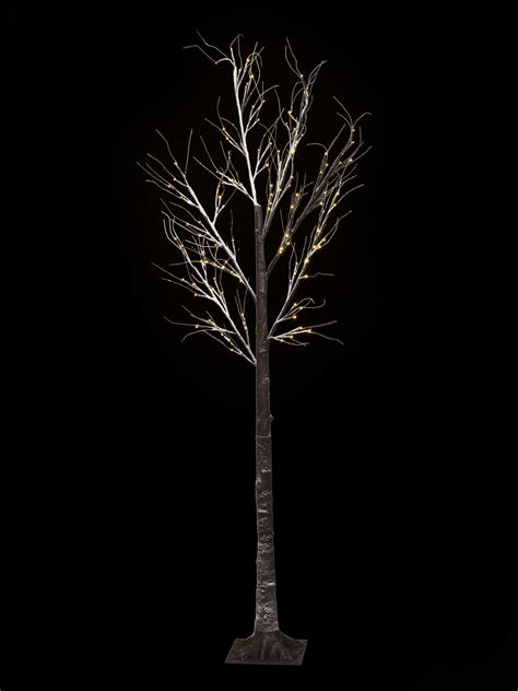 7ft snowy effect warm white twig tree pre lit led xmas
