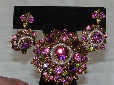 Florenza Set vintage gorgeous signed florenza brooch and earrings set