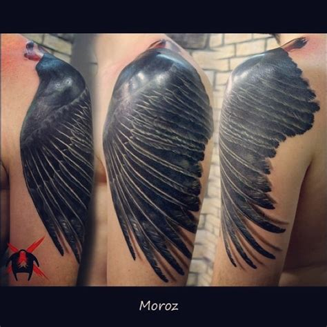 crow s wing tattoo by moroztattoo on deviantart