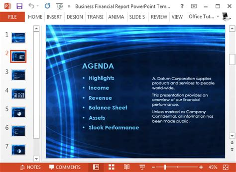 Free Business Financial Report Powerpoint Template Powerpoint Agenda Template